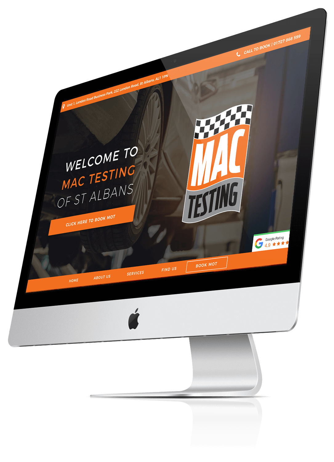 iMac Mock up of Mac Testing of St Albans
